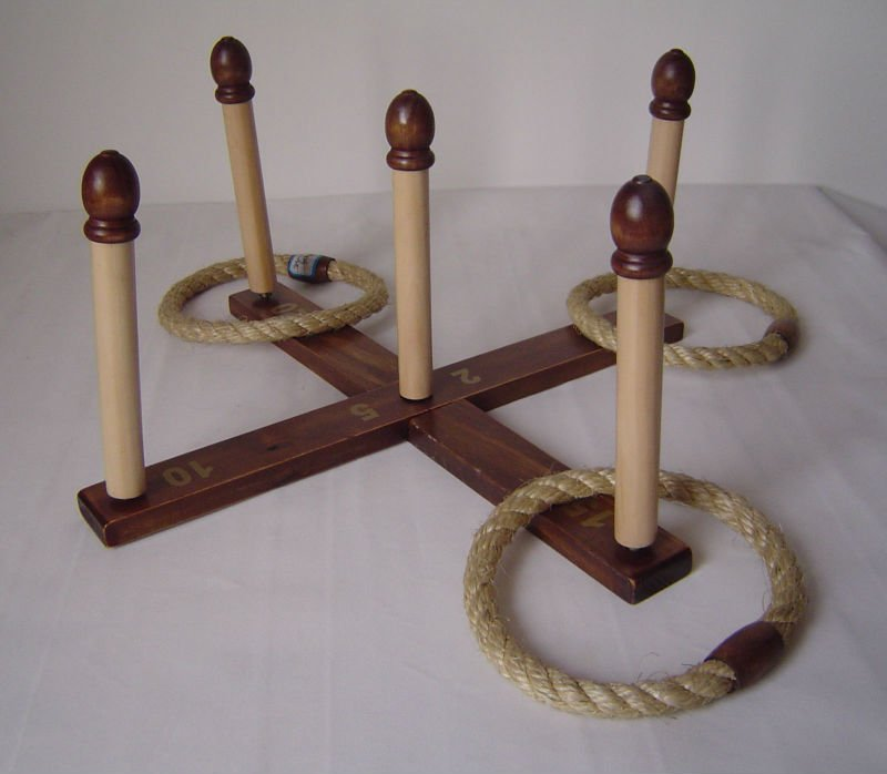 wooden rope rings toss set for outdoor games for kids