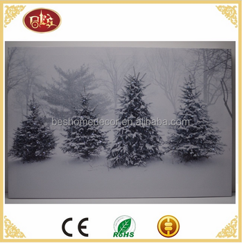 Home Decor snow scene optical fiber painting light up led canvas painting