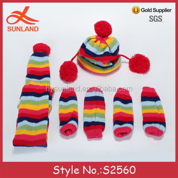 S2560 New Style Rainbow Stripe Patterns Funny Knit Dog Scarves Leg
