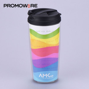 Insulated Souvenirs Drinking Plastic Tumbler 16oz with Paper Insert for Promotion TMPP0065