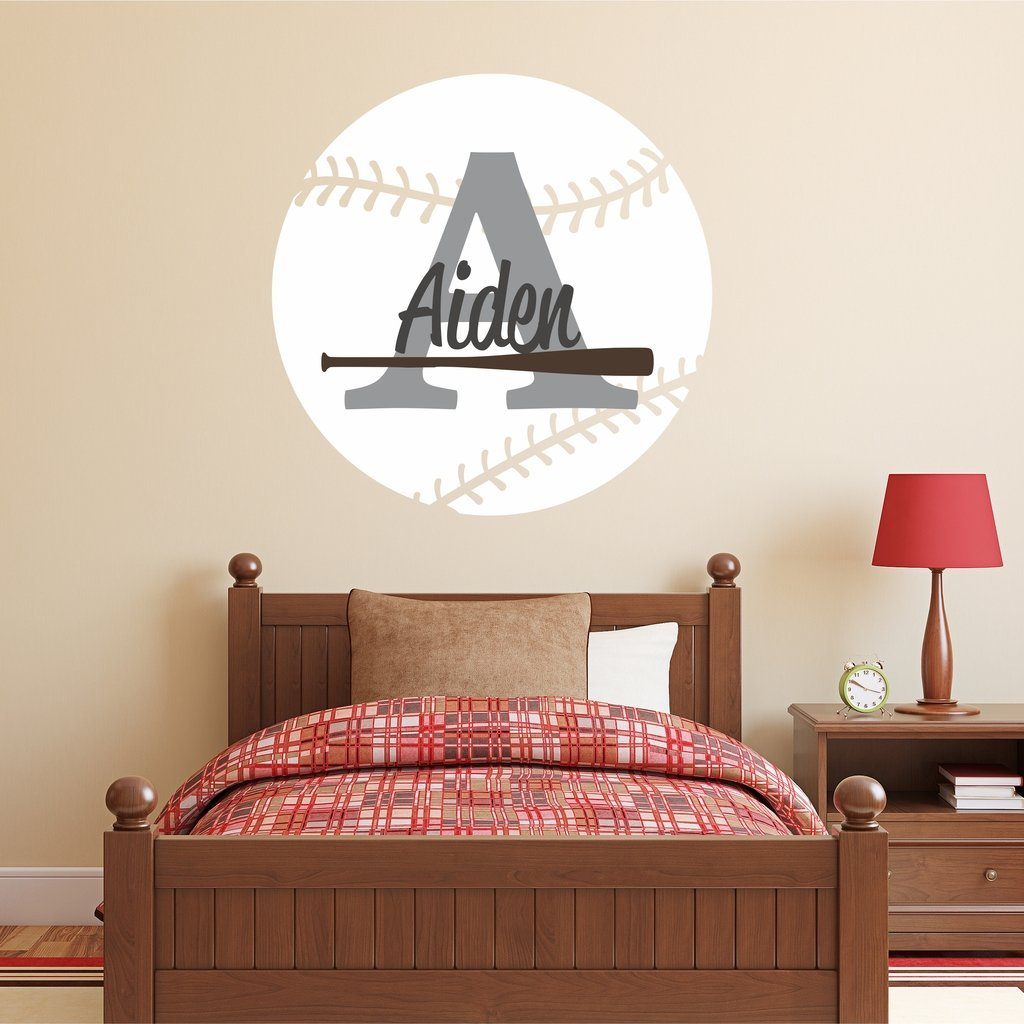 "Nursery Wall Decals Baseball Name and Initial Personalized Name Wall Decal 36"" by 36"", Boys or Girls Nursery Sports Decals, Baseball Wall Decals, Sports Wall Stickers, PLUS FREE HELLO DOOR DECAL"