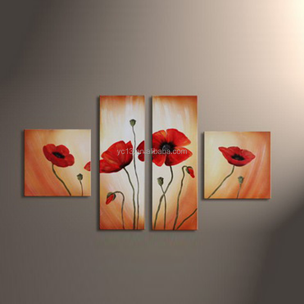 4pcs panel modern handmade strong decorative effect flower painting PL-24