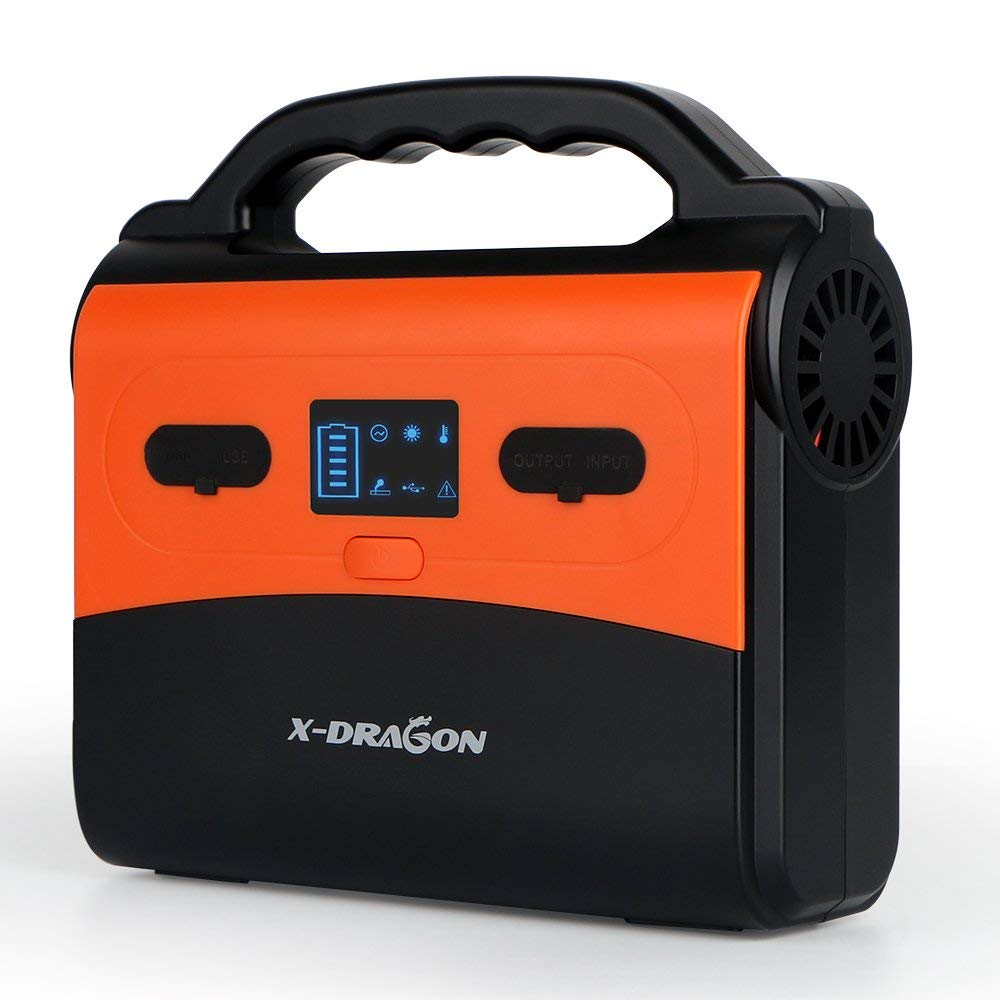 X-DRAGON 150Wh/14500mAh Portable Generator Power Station, CPAP Battery Pack, Home Camping Power Supply Charged by Solar Panel/Wall Outlet with Dual 110V AC Power Inverter, 3 DC 12V Ports, USB Ports