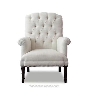 Grand Dossier Roulé Tufté Coton Tissu Rembourré Chaises De Salon Blanc Cassé Buy Chaise Capitonnée Blanche,Chaise Capitonnée Blanche,Chaise