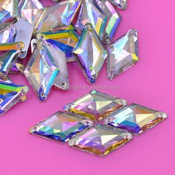11 18 Sewing Crystal AB Rhinestones Sew On Rhombus Diamond Shape Flatback  Acrylic Gems Strass 578da832e20b