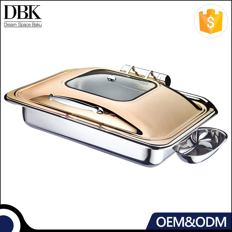 Heavy duty all stainless steel rectangular induction buffet chafing dish/food warmer