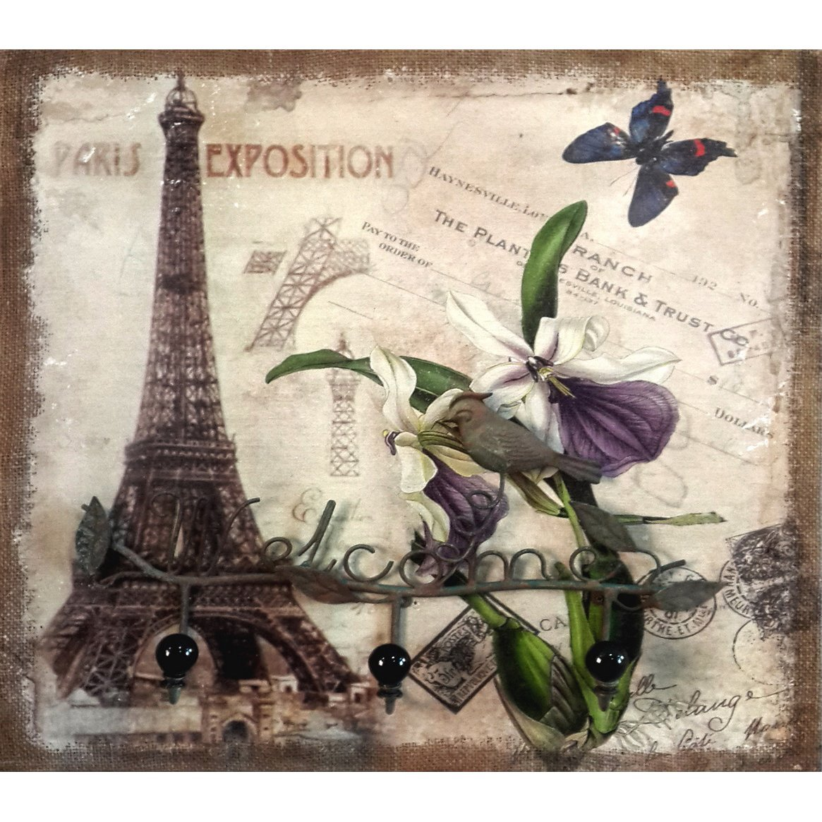 Bernardino Dotti Hand Painted Eiffel Tower Wall Decor with Welcome Iron Hanger, 20 by 20 by 3 Inch