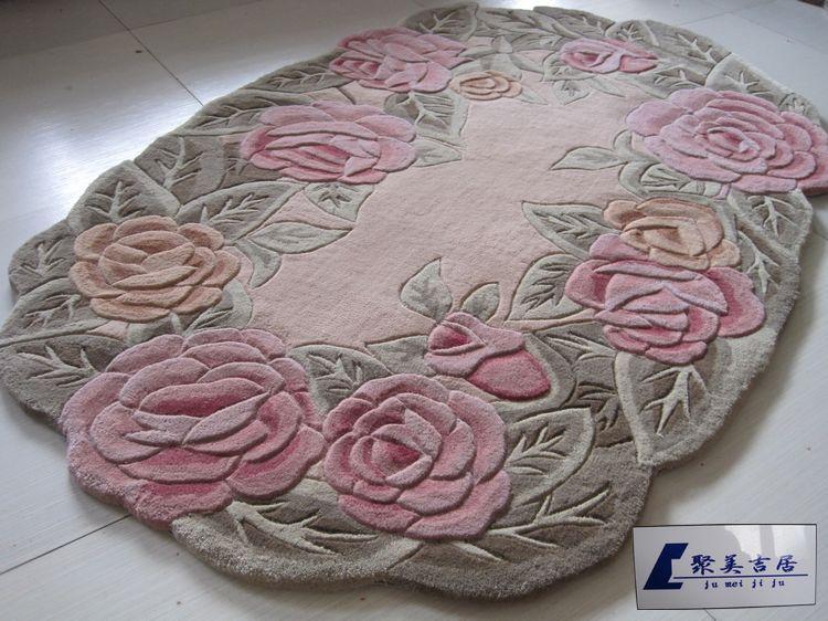 teppiche teppich ovale form reine wollteppich wohnzimmer rose blume couchtisch teppich. Black Bedroom Furniture Sets. Home Design Ideas