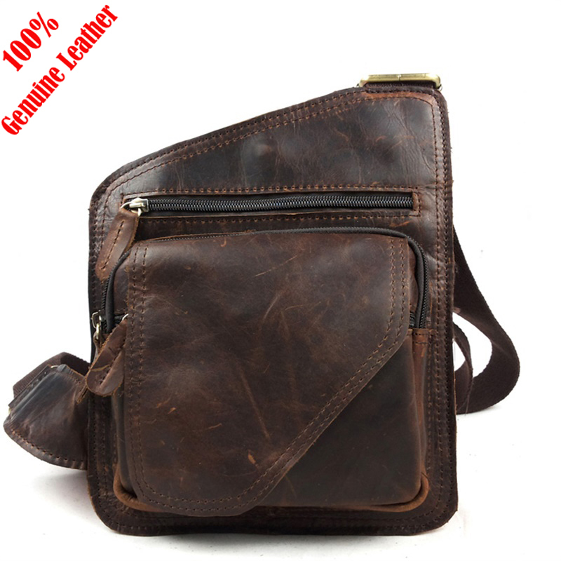 Hot 2015 fashion new design 100% genuine leather bag men messenger bags vintage brown men shoulder bags casual small chest pack