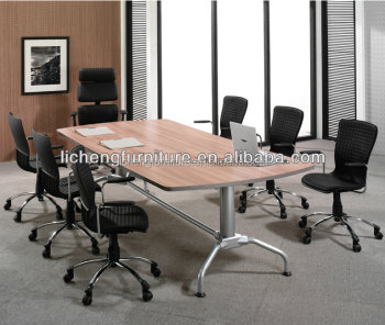 Ten Person Wood Office Meeting Table/conference Desk With Metal Leggs