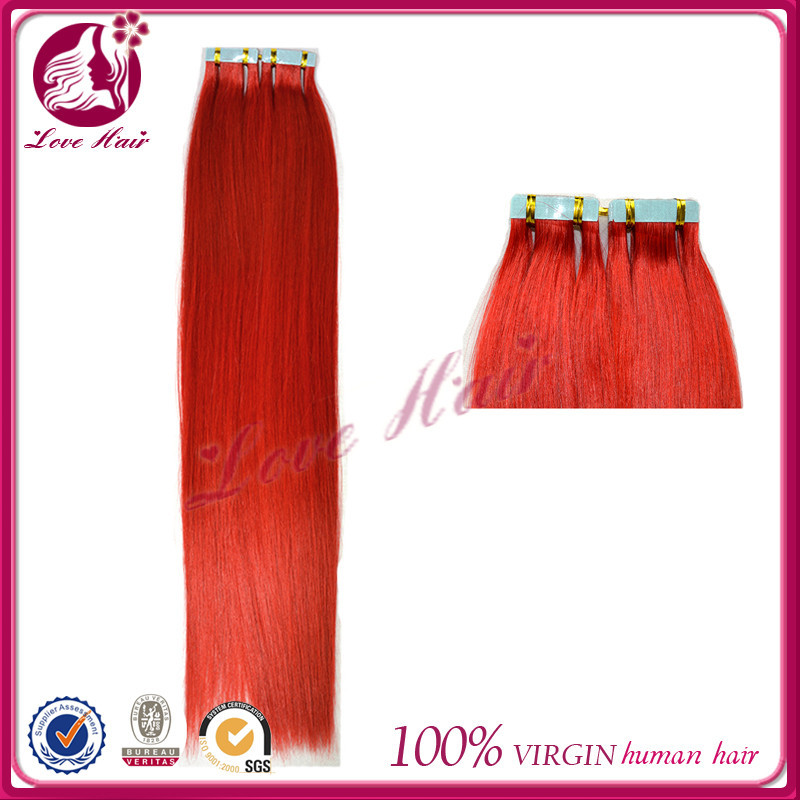 Nonprocessed skin weft hair pieces for top natural tape girls hair private red color label hair extensions