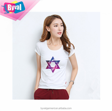 Women 100% cotton t shirts slim fit star printed breathable street wear t shirts wholesale