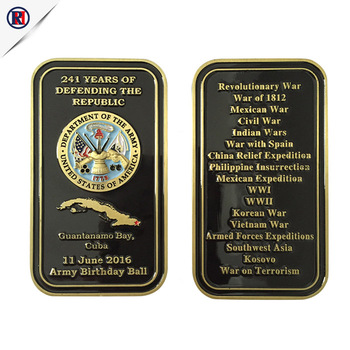 Factory price custom brass square metal navy souvenir coin 3D army challenge coin for collection