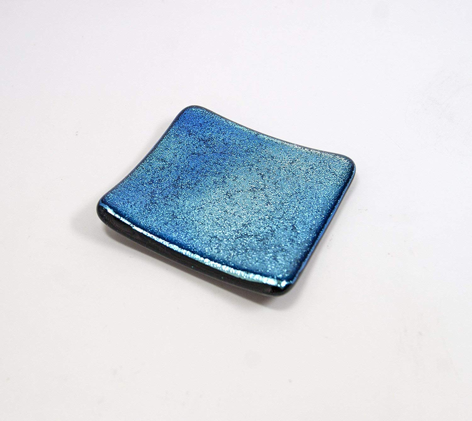 Small Square Glass Plate Candle Holder Blues and Turquoise in Modern Design