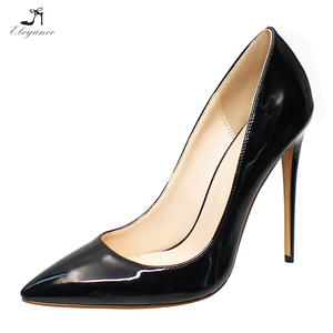 China Women Ladies Pumps Closed Pointed Toe Black Patent Leather Stiletto High Heels Women Party Wear Dress Shoes