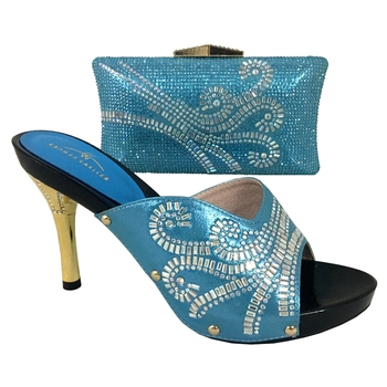 Matching Shoes And Bag Set sky blue Rhinestones Women Slingback Wedding Shoes Evening Bag