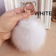 Hotsale Bag Garment Accessories Fur Ball Keychain Genuine 10cm Natural Or Colorful Wholesale Fox Fur Pom Poms