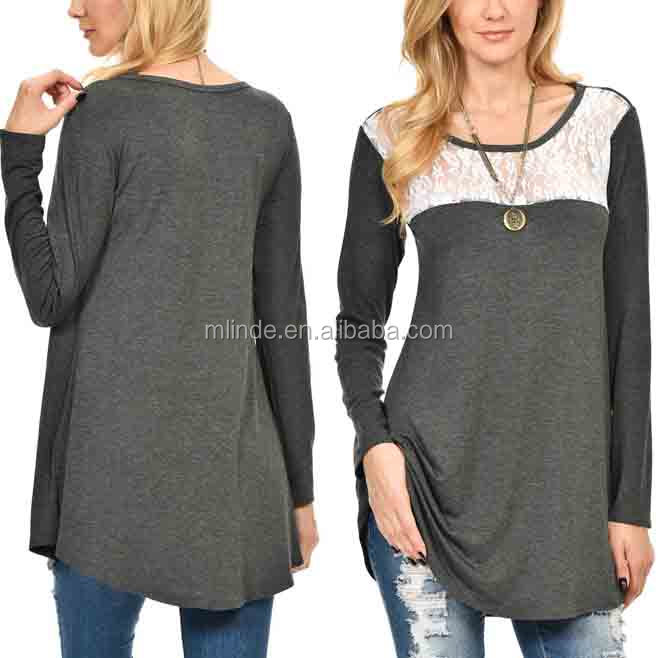 83f46372313 Elegant Fat Women Fashion Apparel Heather Charcoal & White Lace-accent  Long-sleeve Tunic Tops Wholesale Blouses - Buy Dressy Tunic Tops,Latest  Fashion ...
