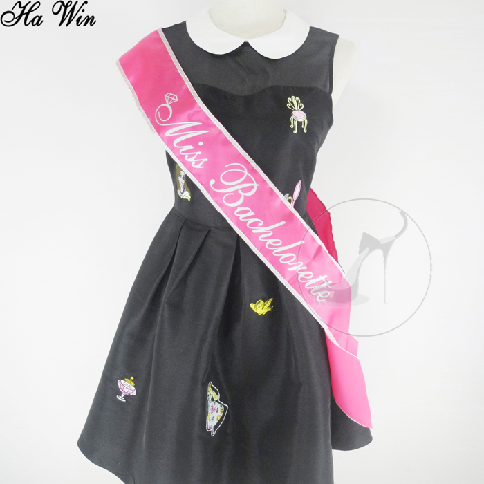 Miss bachelorette party supplies, sash ซาตินสวย edge