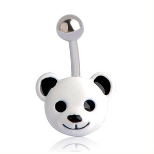Wholesale Enamel White Bear Navel Rings Stainless Steel Animals Belly Button Rings Piercing Body Jewelry