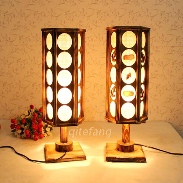 Free Shipping Creative real wood logs wooden table lamp bedroom bedside lamp minimalist home decoration craft ornaments nightlig