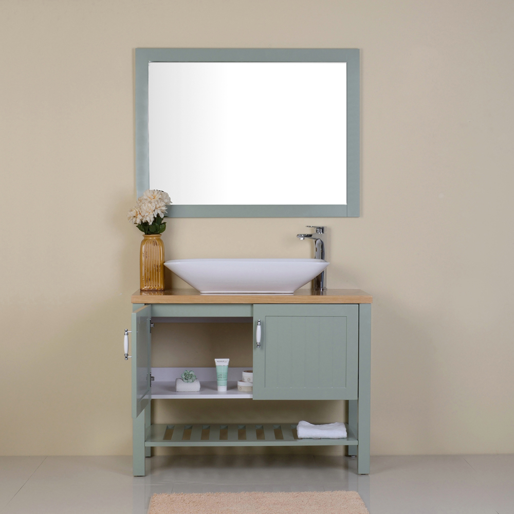 Floor Standing 2 Doors 1 Shelf Plywood Rustic Sliding Door Bathroom Vanity With Mirror Sink