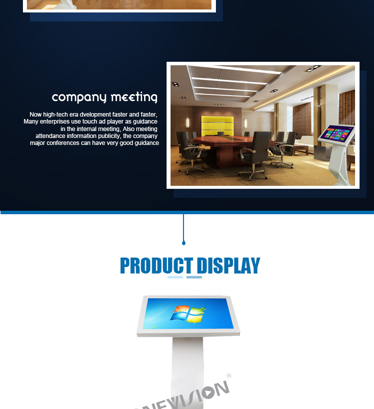 43 inch floor stand Windows/Android os 10 points PCAP interactive multi touch screen digital signage kiosk