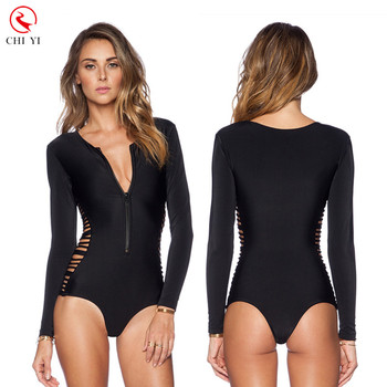 cee1b9f19b682 custom made women one piece long sleeve rash guard swimwear with upf  swimwear fabric