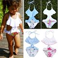 Kids Girls Bikini Swimwear Falbala Floral Swimming Bathing Suit Swimsuit 2 7Y UK