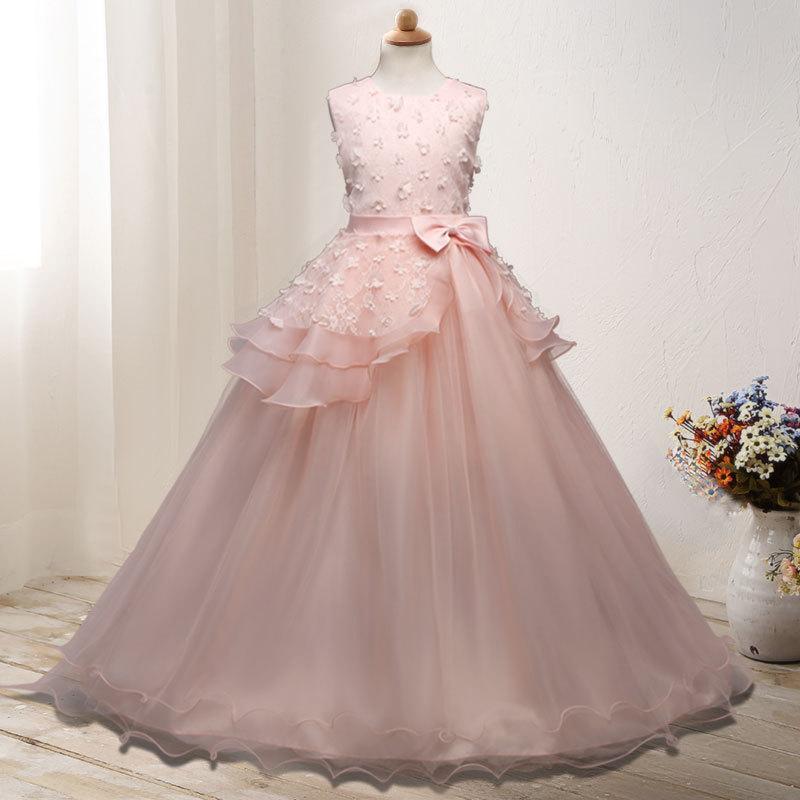 Children long frock design white princess dresses Kids party wear frock flower girl maxi dresses Wedding dress фото