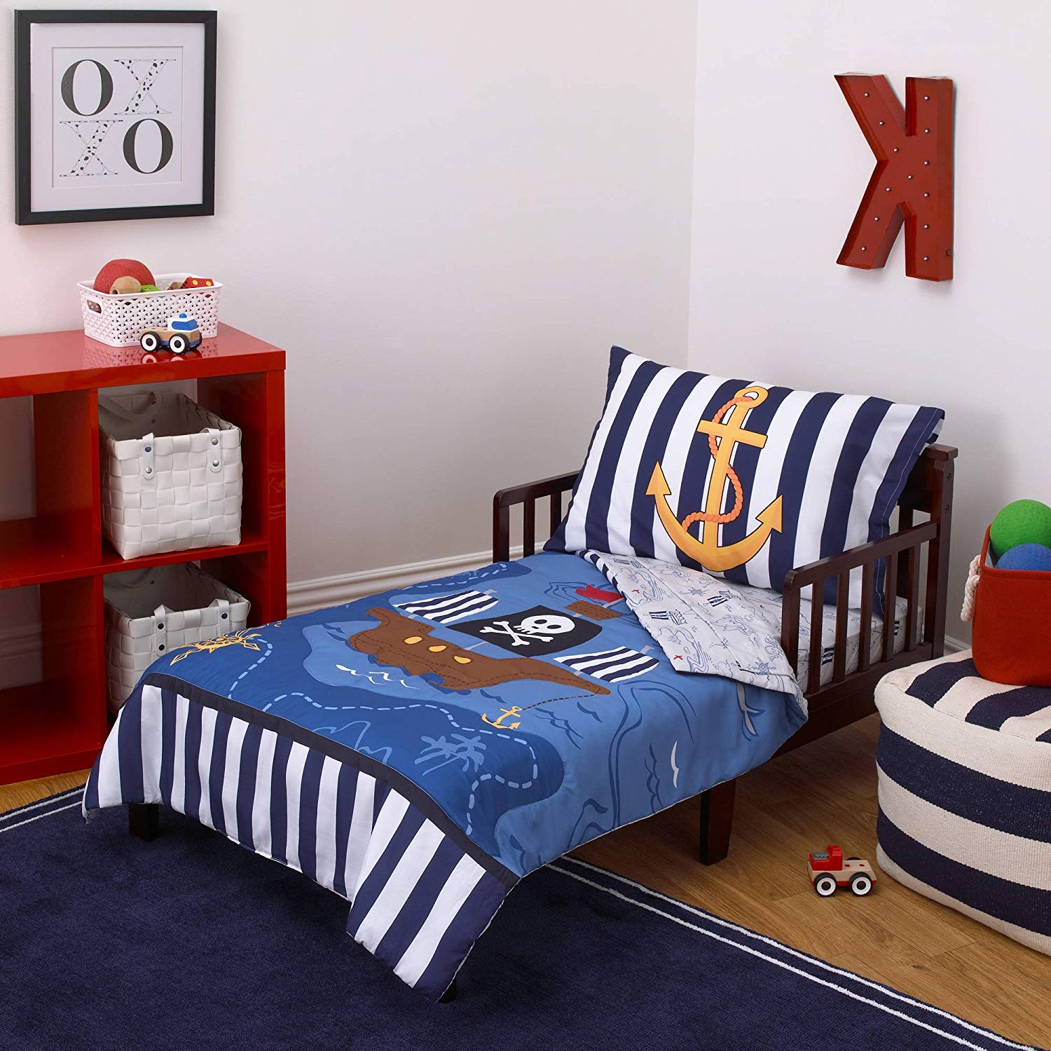 TN 4 Piece Blue Pirate Toddler Bedding, Black Pirate Ship Toddler Comforter Set Pirate Flag Whale Anchor Nautical Map Toddler Set Reversible Ocean Multi Colored Soft Comfortable, Polyester