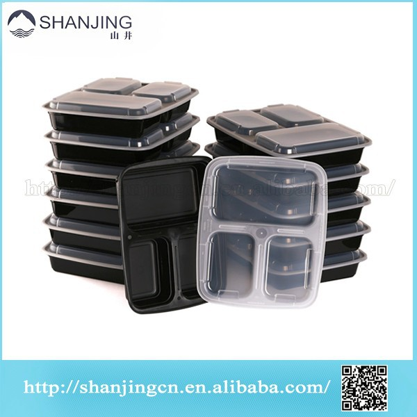 Reusable 3 Compartment Meal Prep Container , Leaf Proof Lunch box , High Quality Plastic Food Container Microwavable Dishwasher