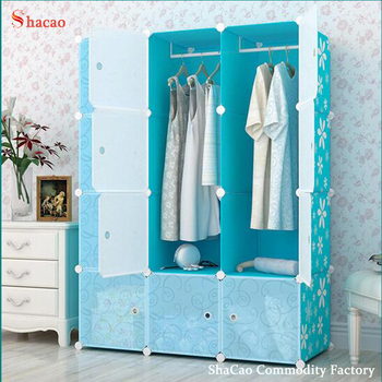 Magic Diy Pp Cube Cabinet Plastic Cabinet Clothing Wardrobe Blue Color