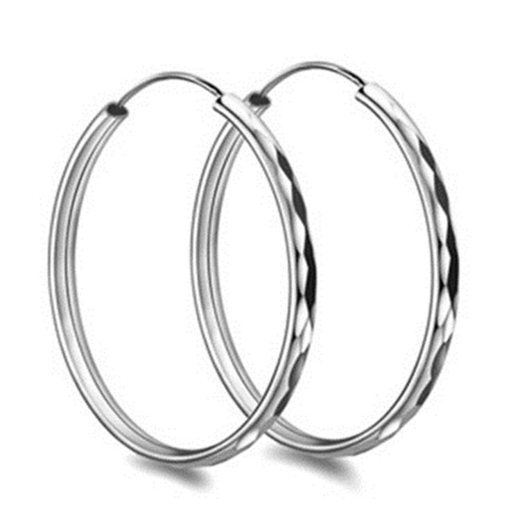 European Style Ring Shape 925 Sterling Silver Big Hoop Earrings