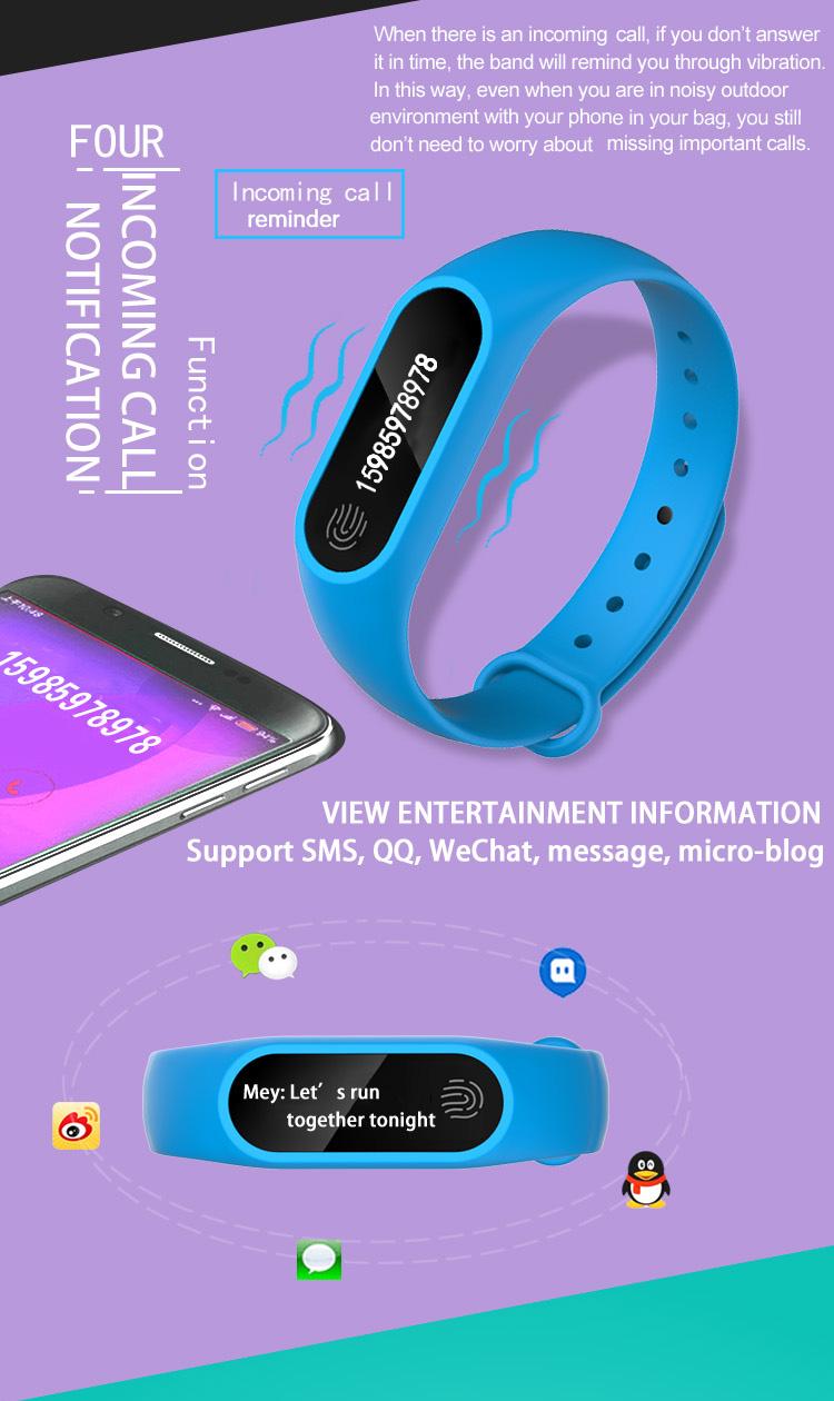 Heart Rate Sleep Monitor Pedometer Bluetooth Smart WristBand  Anti-lost Message Reminder M2 Plus Waterproof Smart Wristband