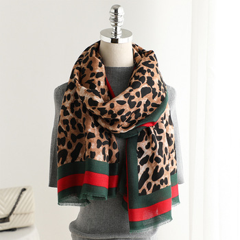 New arrival women fashion high quality leopard animal printed frayed cotton scarf