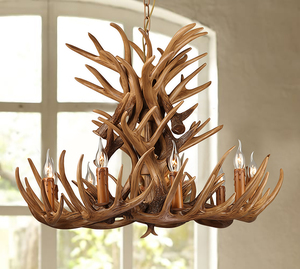 American Country style Retro Fashion resin antlers Shape industrial chandelier/droplight/pendant lamp with edison bulbs