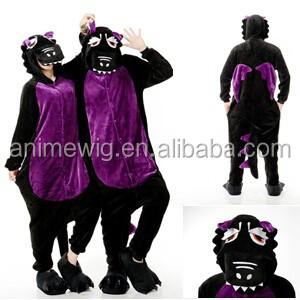 Wholesale Kartoon Flannel Unisex Adult Black Dragon Animal Onesie Sleepwear Cosplay Halloween Costume Pajamas Costume фото
