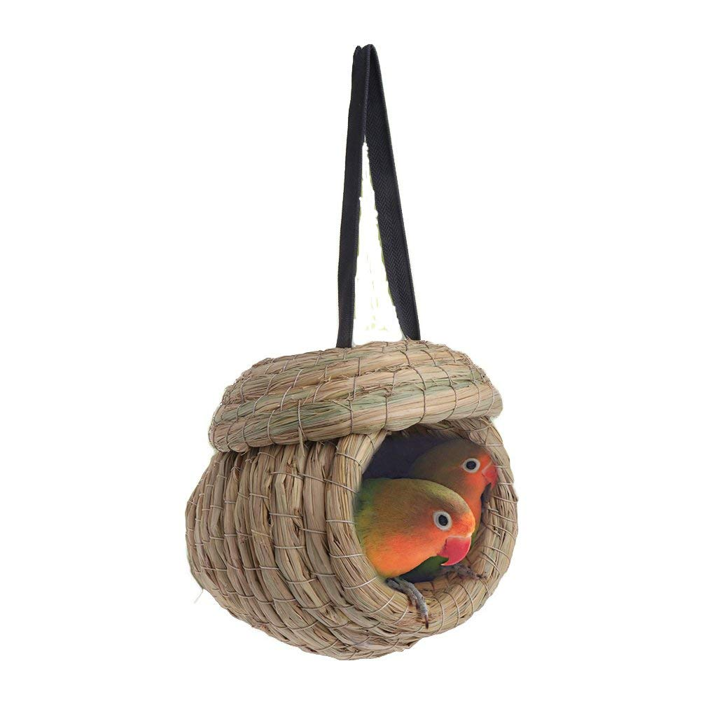 Stebcece Natural Straw Braid Bird Nest for Macaw Swallow