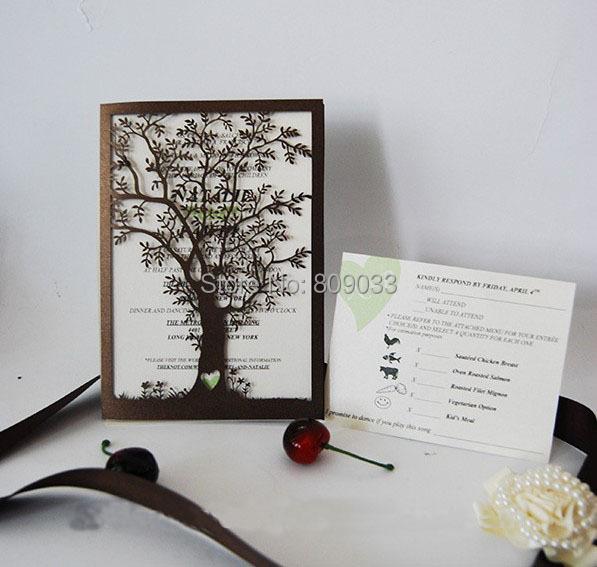 Laser Cut Tree Wedding Invitations: Tree Laser Cut Wedding Invitations-in Invitation Cards