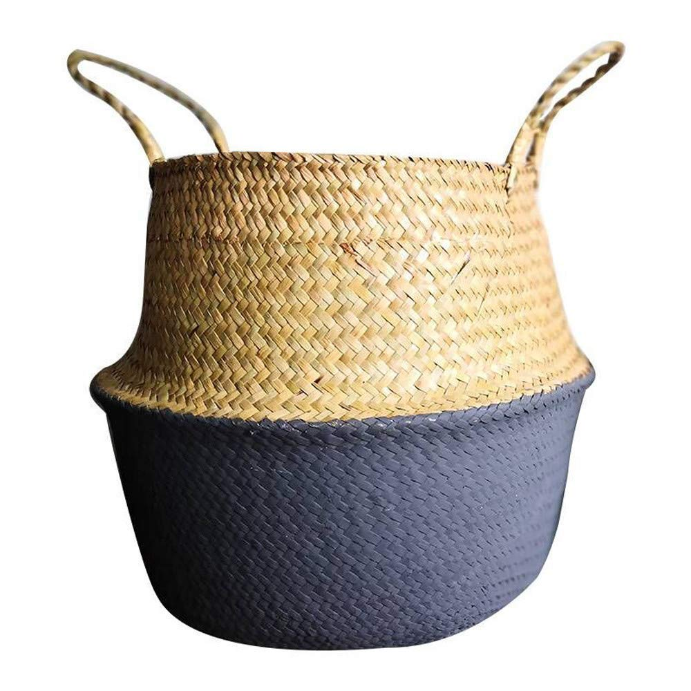 Rumas Natural Flower Pot Basket with Handles - Seagrass Wicker Basket - Large Storage Laundry Basket - Wall Folding Basket Hanging - Blue Beige White Gray (Gray)