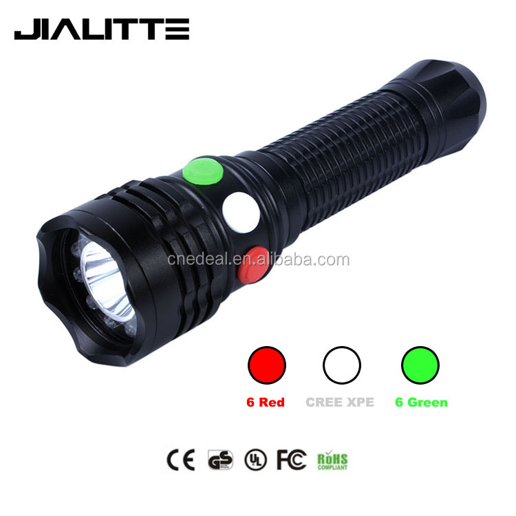 Jialitte F025 Q5 + 12 Leds Tri Color Handheld Railway Led Flashlight Tail Magnet Singal Torch Light