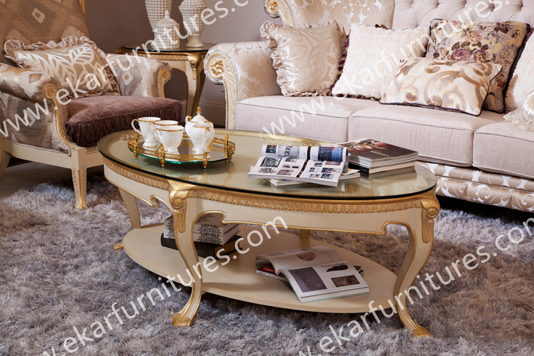 Exotic high gloss modern wood oval coffee tea table for Teapoy table designs