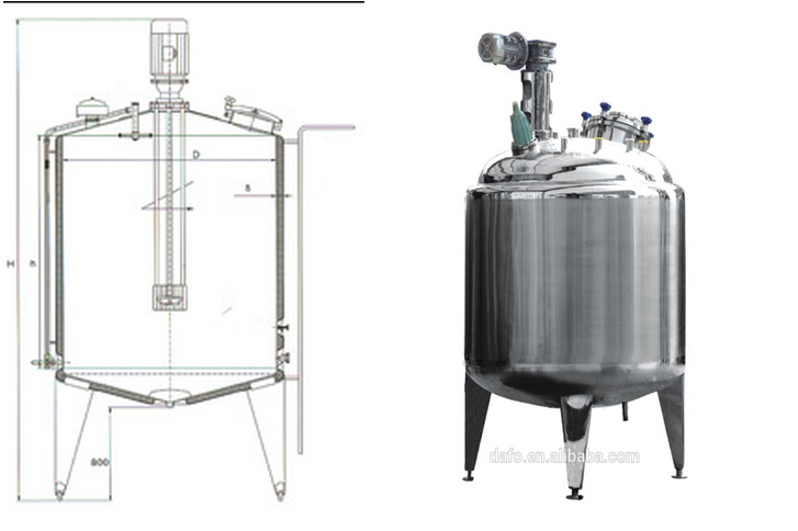 Vertical double jacketed stainless steel mixing agitator for Milk tank agitator gear motor