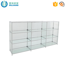 2016 new design shop home storage showcase toughened shelf steel glass cabinet