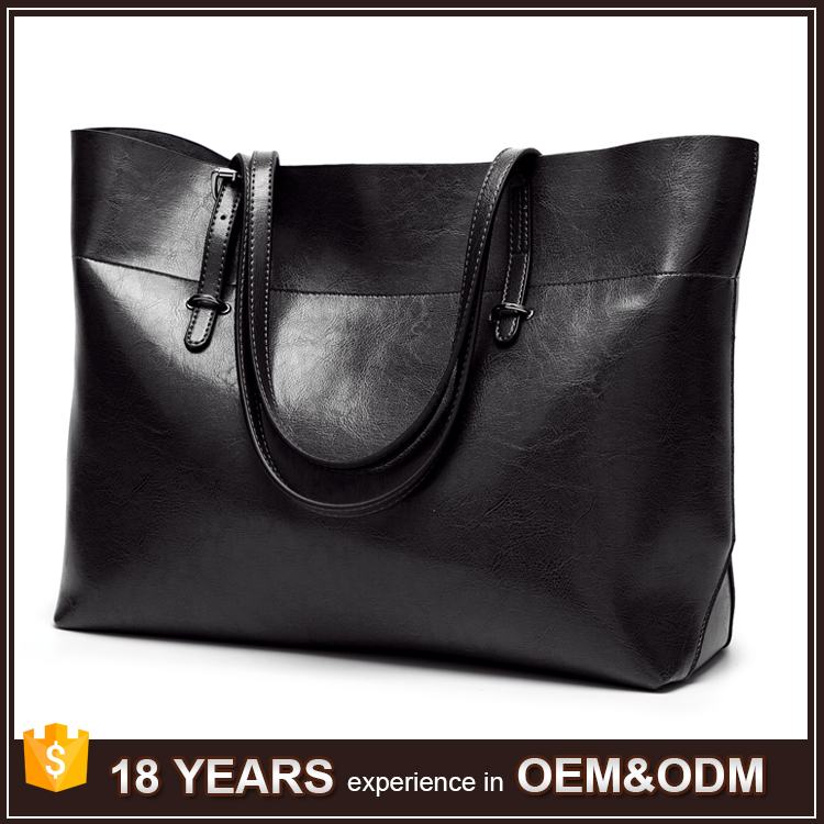 e764864a3eb8 Free Shipping Online Hot Selling Handmade Black Leather Tote Bag Business  with Zipper