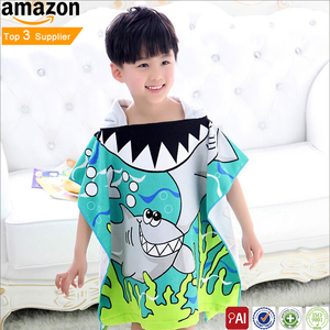 Custom Microfiber Cartoon Children Bathrobe Beach Hooded Towels