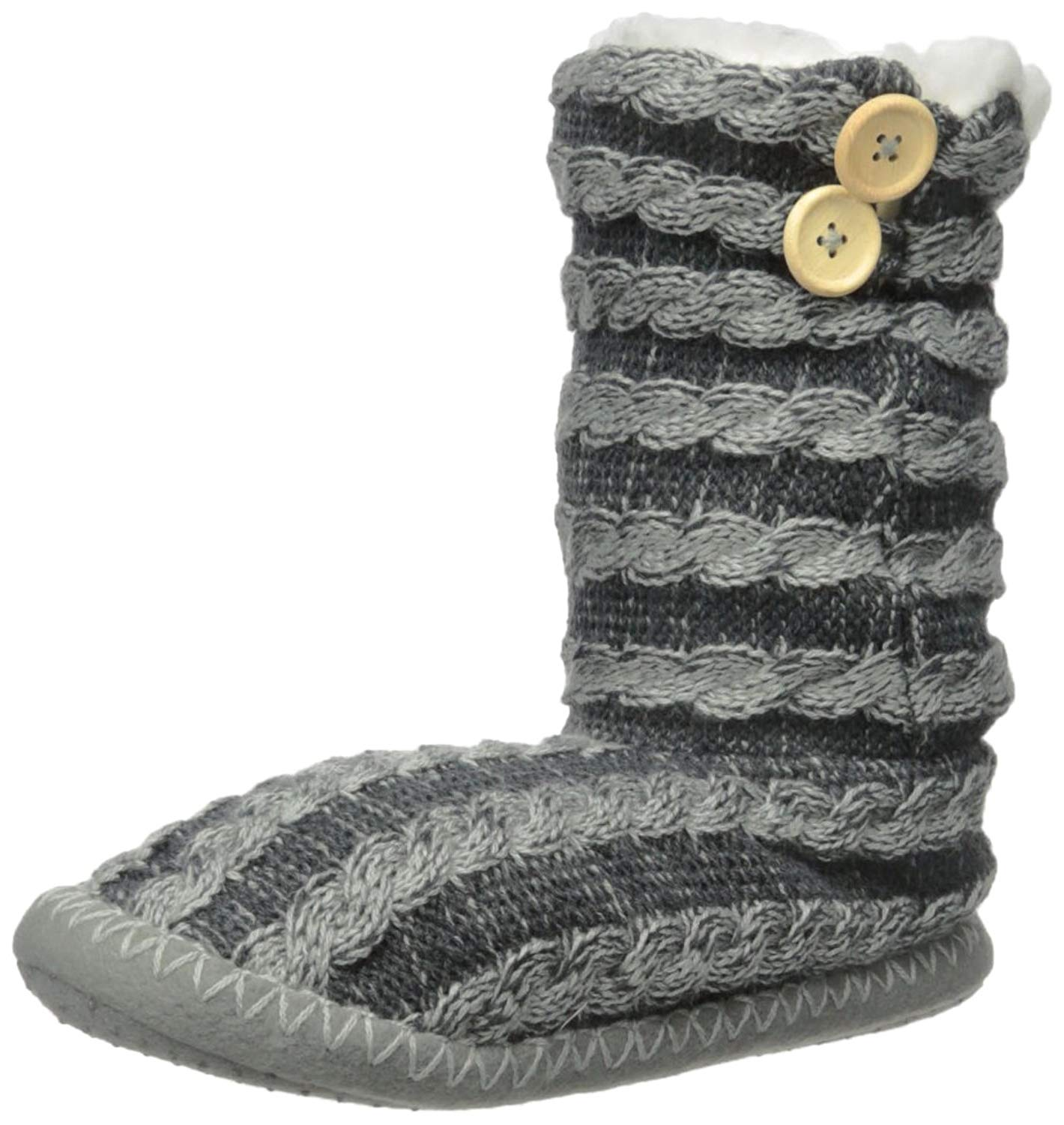 7f599c0df0e1 Buy Noble Mount Womens Cable Knit Button Accent Indoor Boot Slippers ...
