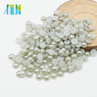 Synthetic Lab Created [ Pearls ] Factory Sales Half Pearls Beads Flat Round Pearls For Clothing Accessories Z35-Lt.Silver Grey