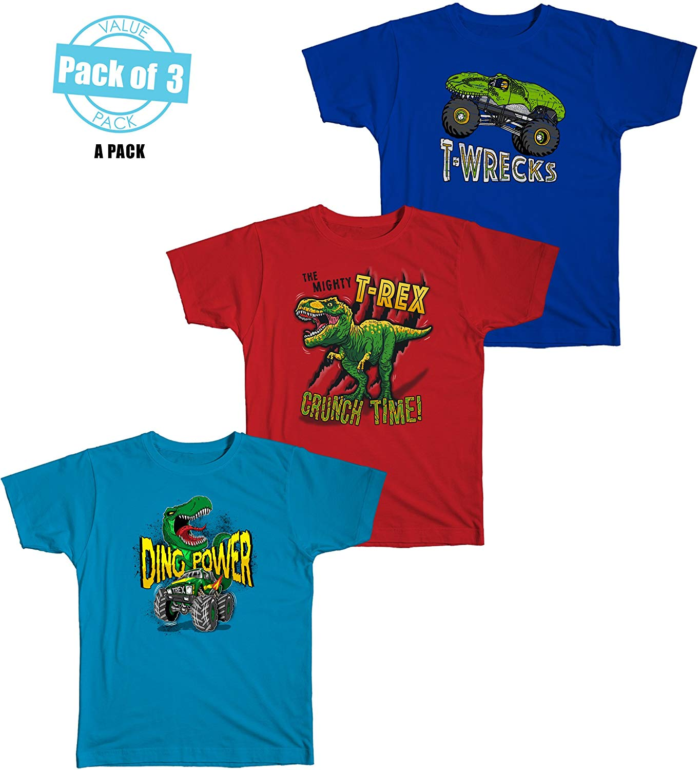 f206b9b3 Get Quotations · Rude Boyz Dinosaur Themed Boy's Graphic Short Sleeve  T-Shirts Value Pack Of 3 (